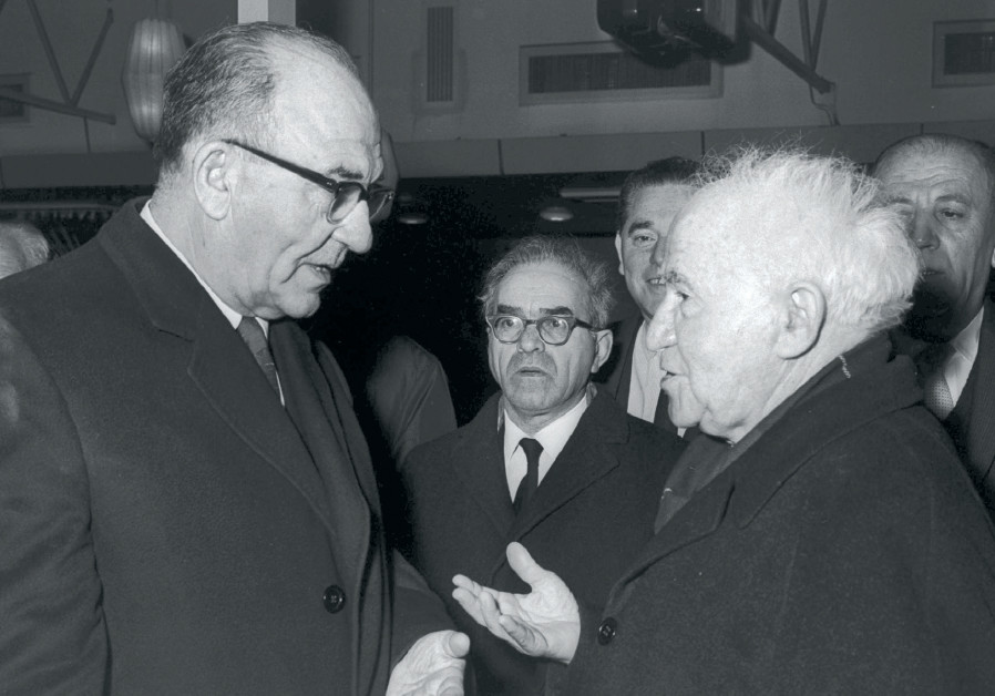THEN-PRIME MINISTER Levi Eshkol (left) with David Ben-Gurion at Lod Airport before the latter's depa