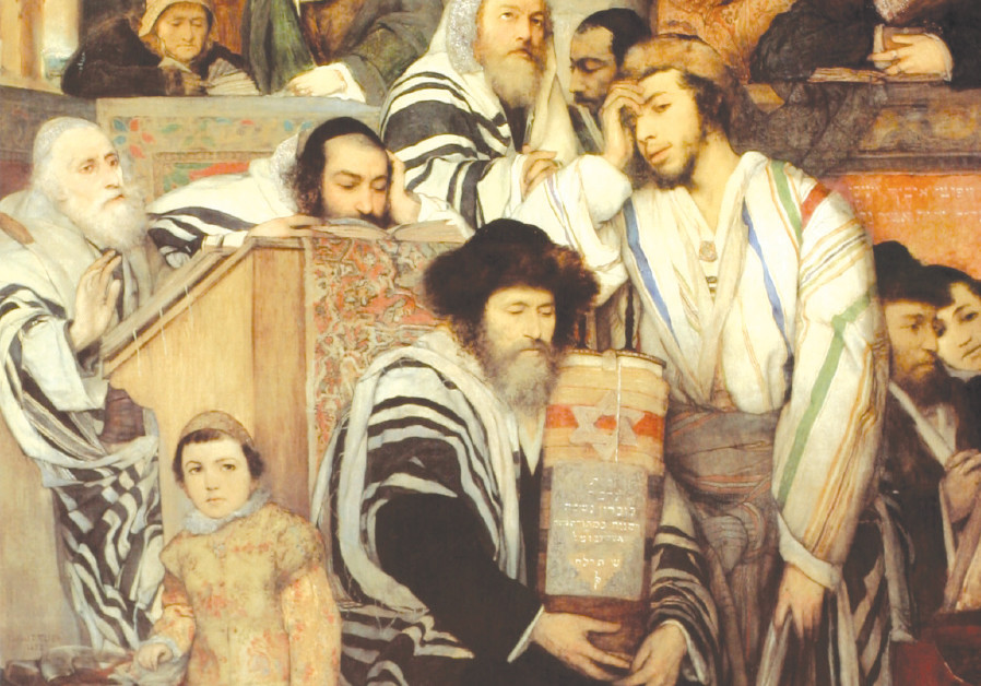 PAINTING by the Polish artist Maurycy Gottlieb c. 1878, titled 'Jews Praying in the Synagogue on Yo