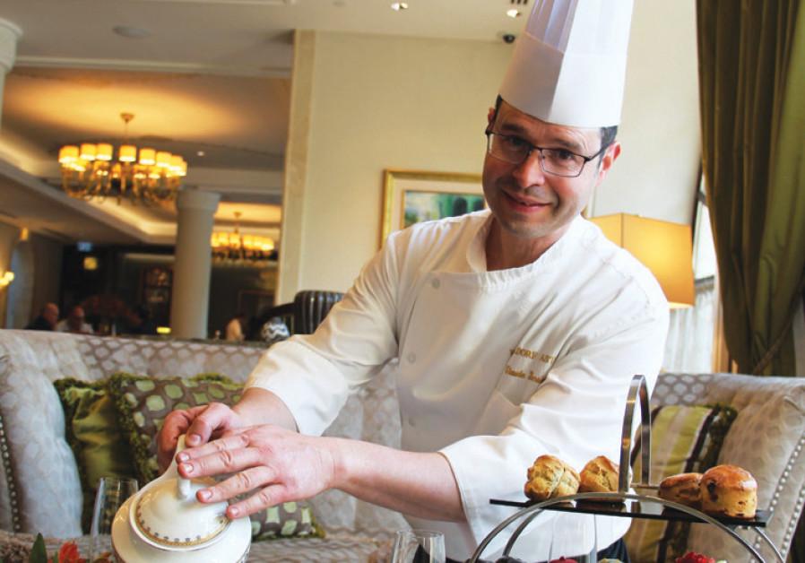 Waldorf Astoria Jerusalem pastry chef Claude Ben- Simon pours out