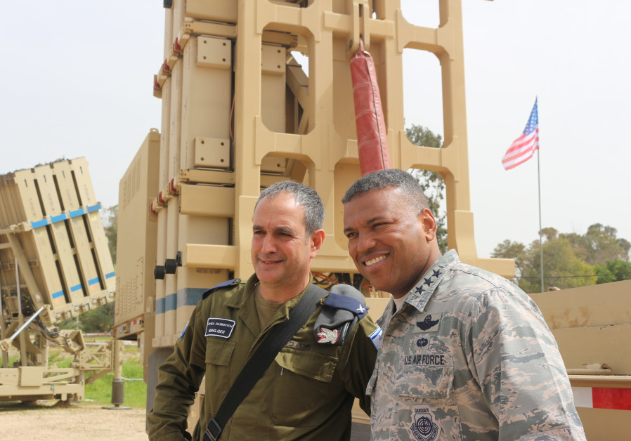 Brig.-Gen Zvika Haimovitch, the head of the IDF's Aerial Defense Division and US Air Force Third Air Force Commander Lt. Gen. Richard Clark. (Credit: Anna Ahronheim)