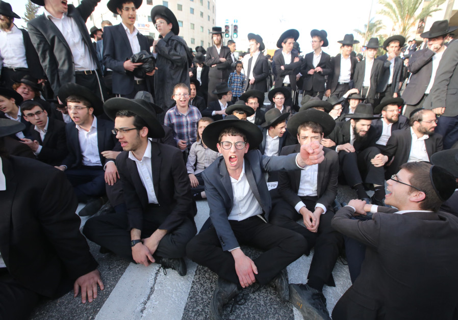Young haredim take part in a protest against mandatory IDF conscription, March 2018. (Credit: Marc Israel Sellem/The Jerusalem Post)