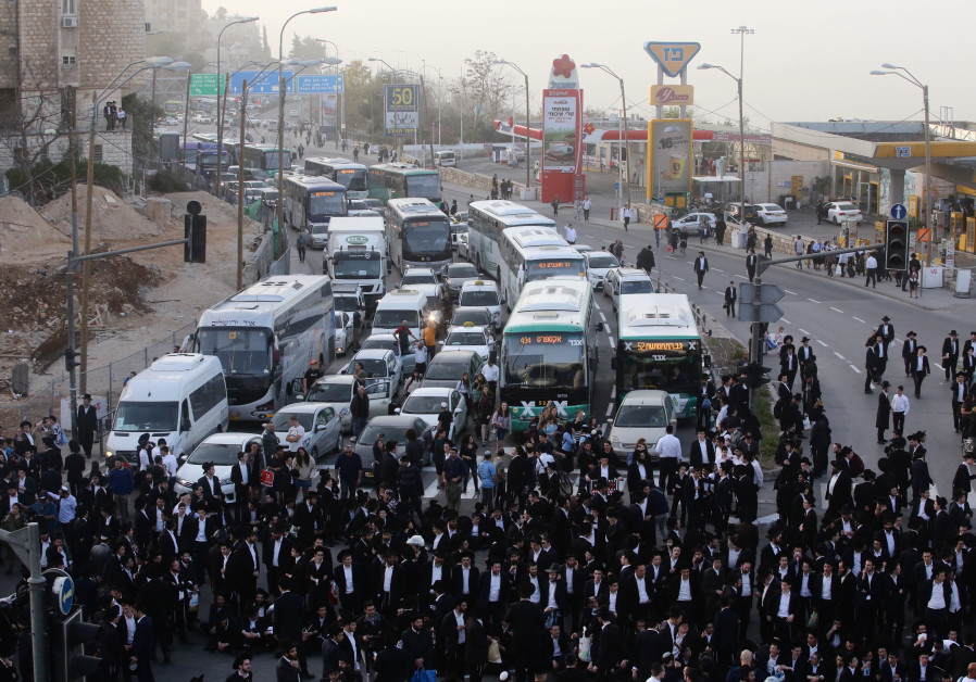 A large group of haredim take part in a protest against mandatory conscription in Jerusalem, March 2018 (Credit: Marc Israel Sellem/The Jerusalem Post)