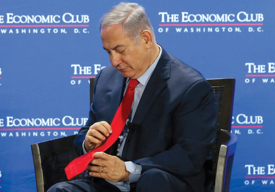ME MINISTER Benjamin Netanyahu pauses during an interview at the Economic Club of Washington, DC.