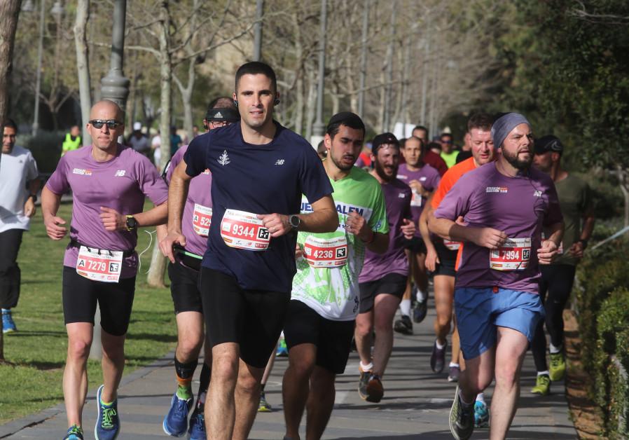 Runners in the Jerusalem Marathon, March 2018
