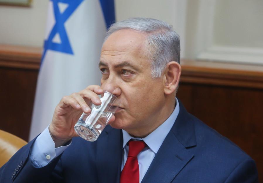 Prime Minister Benjamin Netanyahu at cabinet meeting, March 11, 2018