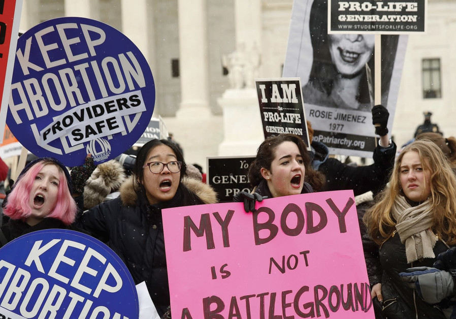 Women protesting for abortion rights, forty-five years after Roe v. Wade
