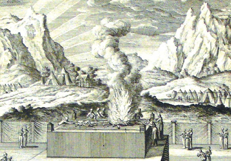 BURNT OFFERING: A print from the Phillip Medhurst Collection of Bible illustrations at St. George's