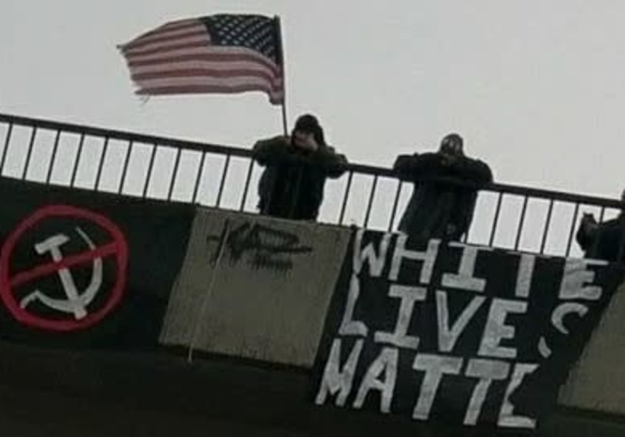 'Banners of Hate' placed by US white supremacist groups