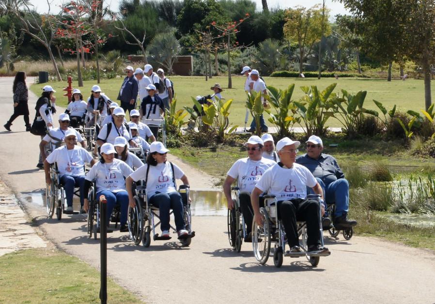 Course participants during a study tour in Ariel Sharon Park southeast of Tel Aviv, March 19, 2018