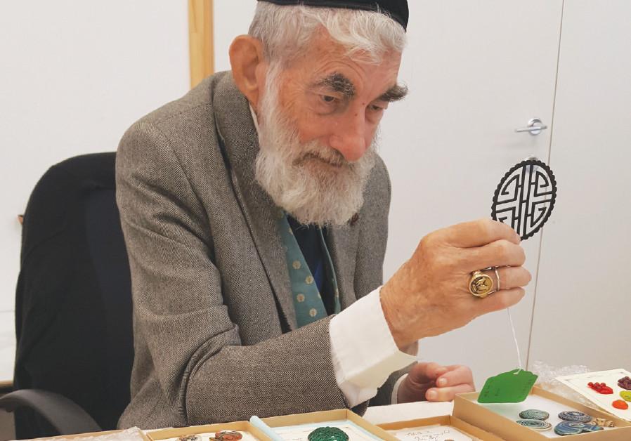 Ezra Gorodesky and his button collection