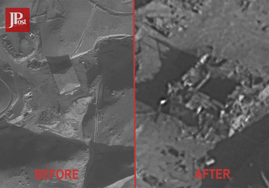 Before and after aerial picture of the Syrian nuclear reactor site. (IDF Spokesperson's Office)