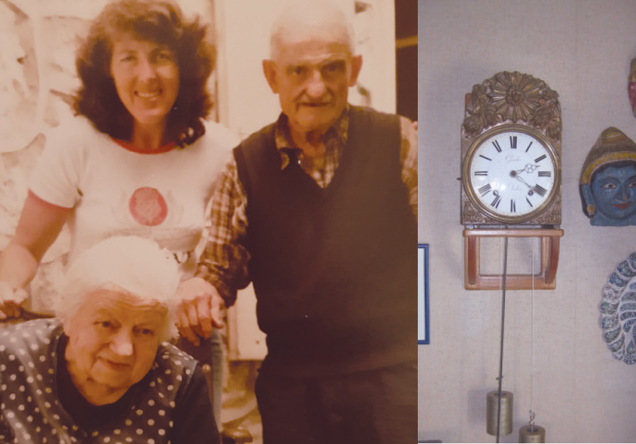 Left: BETTY EPPEL (standing, left) visits Josephine and Victor Guicherd in France in 1986. Right: VI