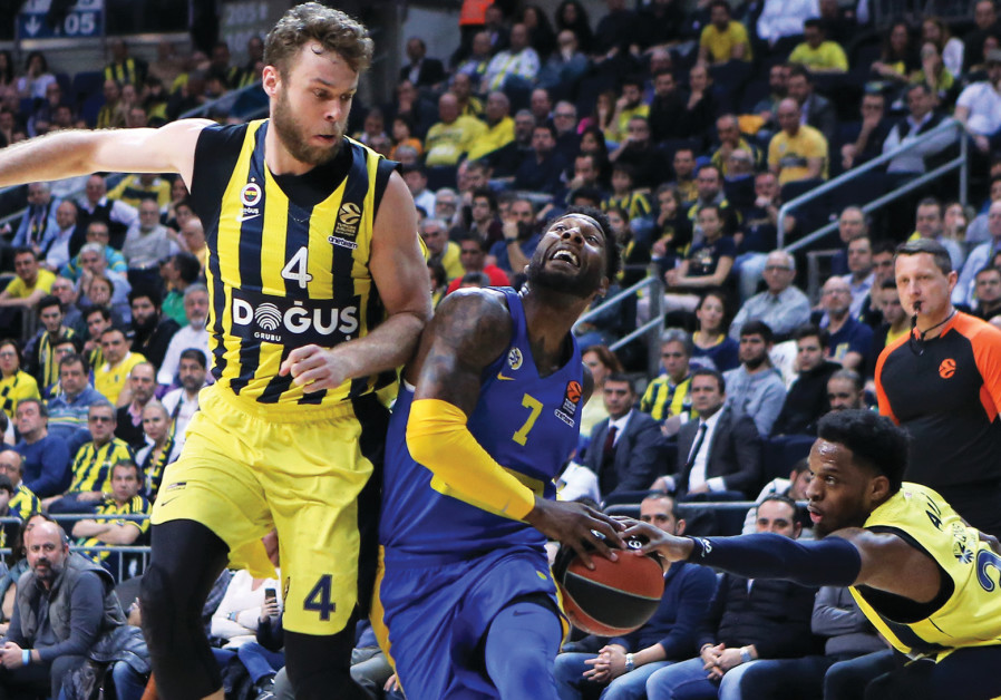 Maccab i Tel Aviv forward DeAndre Kane (7) is stripped of the ball by Fenerbahce's Muhammed Ali