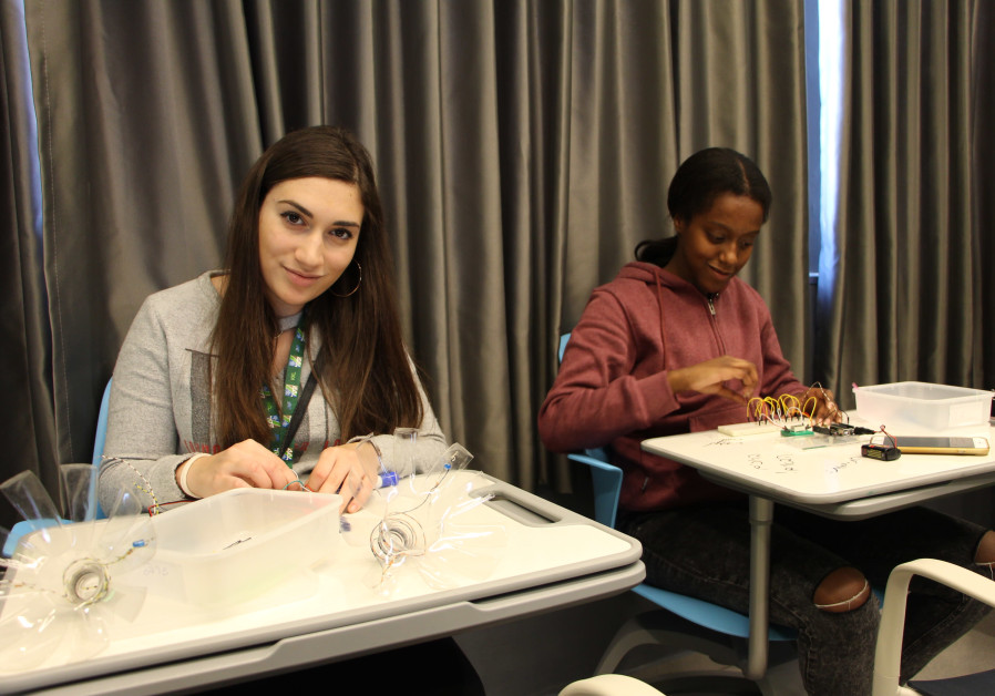 Students' electronics work at KKL-JNF House