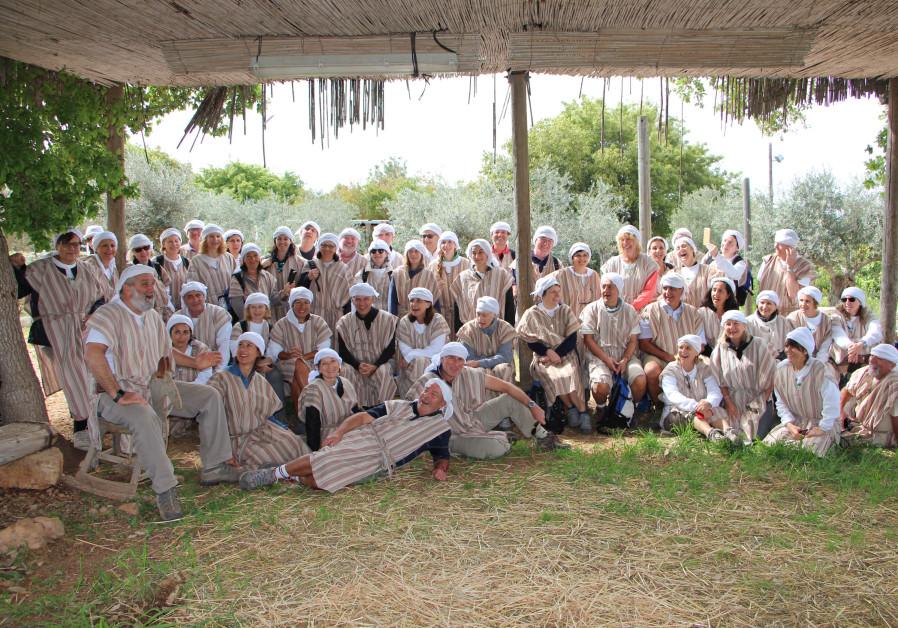 Walk for Water participants dress up in Biblical garb at Kfar Kedem in Hoshaya