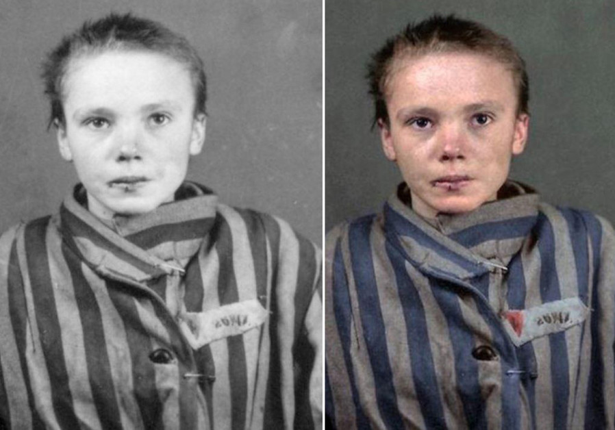 Original black and white and colorized photo of Holcoaust victim Czeslawa Kwoka