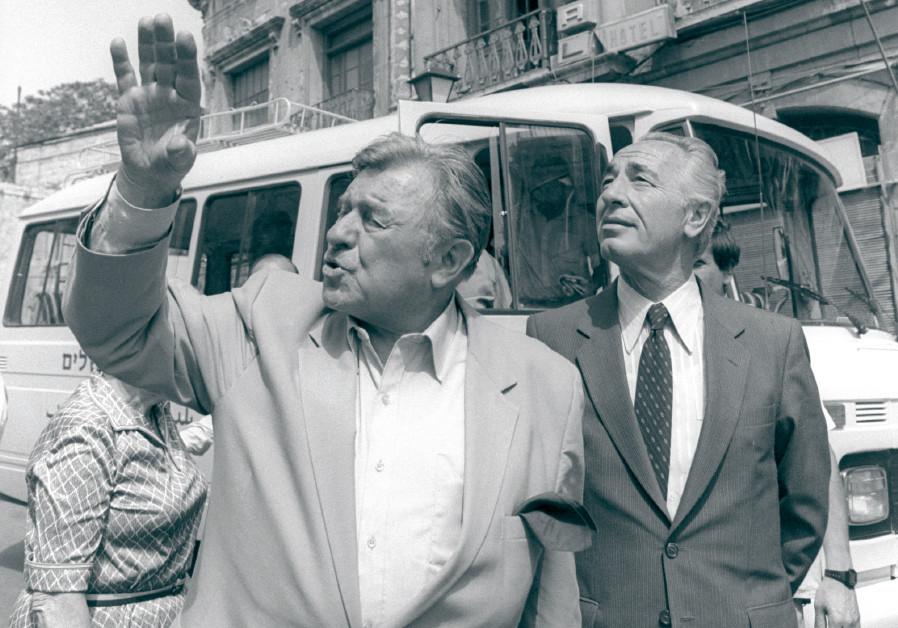 JERUSALEM MAYOR Teddy Kollek (left) points out special landmarks to then-prime minister Shimon Peres