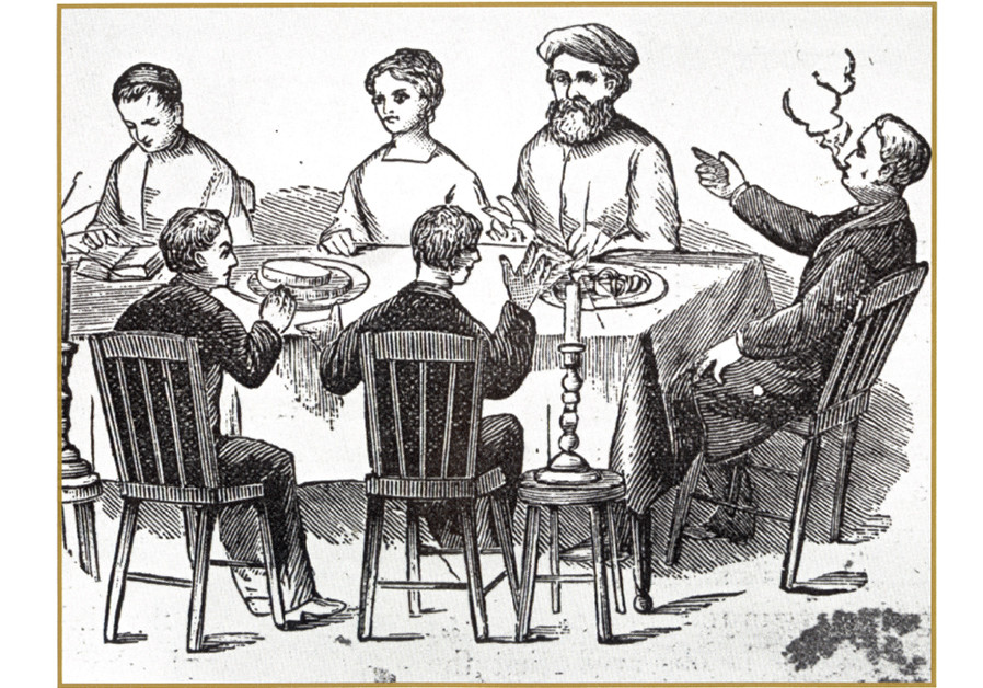 The first American depiction of the four sons, from 'Haggadah for Passover,' Chicago, 1879