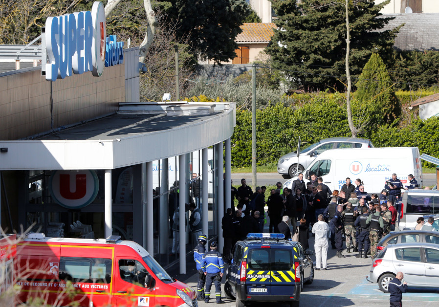 Rescue and police forces at Super U in Trebes, France during a hostage situation there