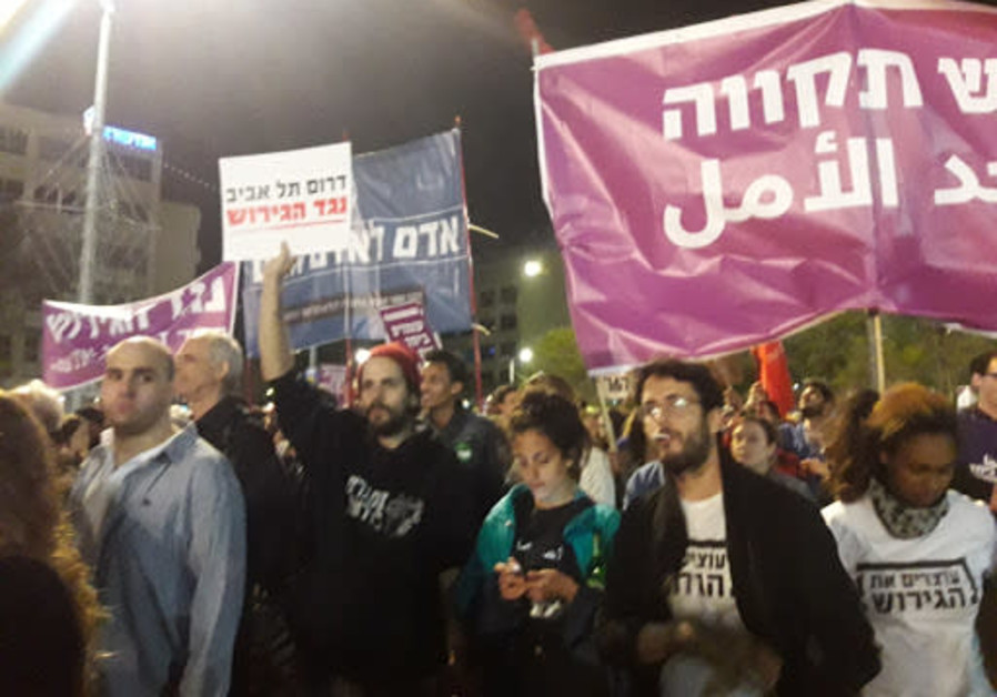 Tel Aviv anti-deportation rally. (Credit: Tamara Zieve)