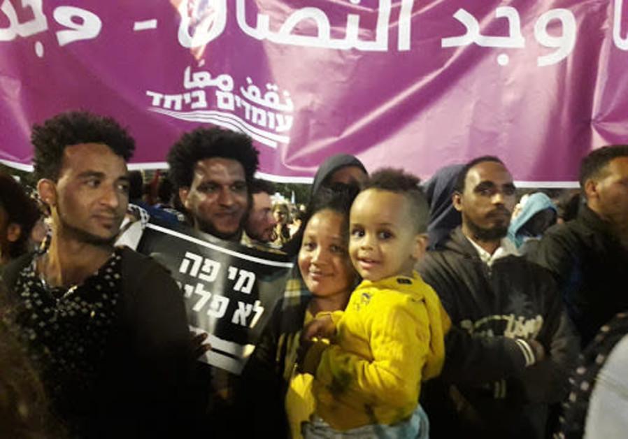 Tel Aviv anti-deportation rally on March 24, 2018. (Credit: Tamara Zieve)