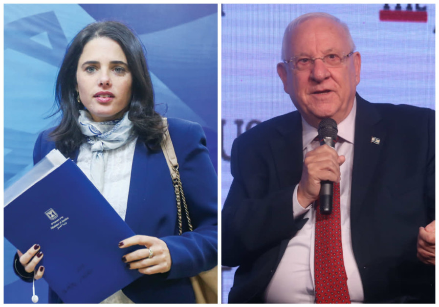 Justice Minister Ayelet Shaked (L) and President Reuven Rivin (R).