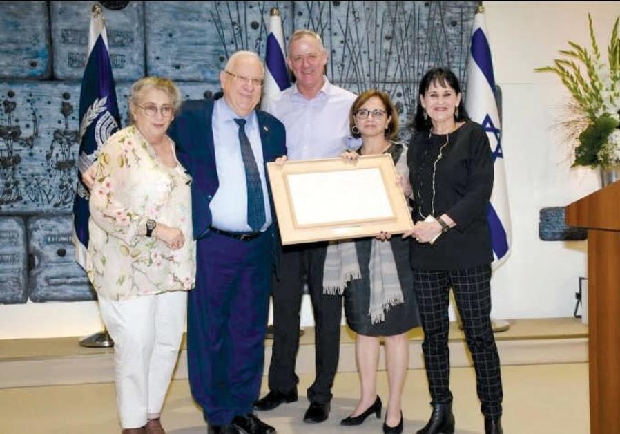 Nechama and Reuven Rivlin, Benny Gantz, Yehudit Yovel Recanati and Orly Gal.
