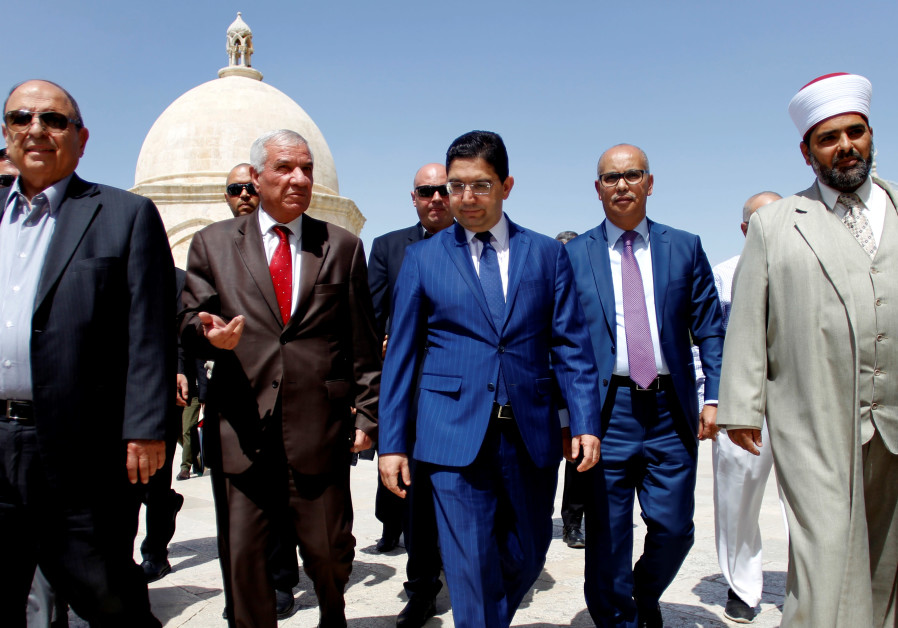 Moroccan Foreign Minister Nasser Bourita visits the Al Aqsa mosque on the Temple Mount