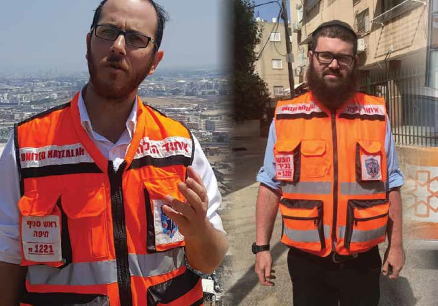 Moshe Adler (left) and Aryeh Amit (right) in their United Hatzalah uniforms.