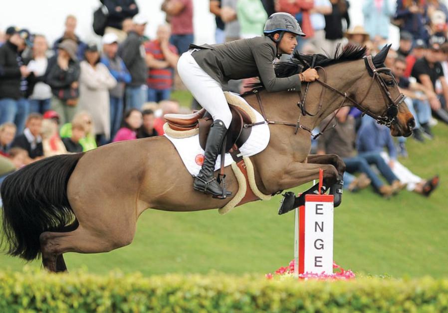 Israeli horse show jumper Daniel Bluman atop Sancha LS