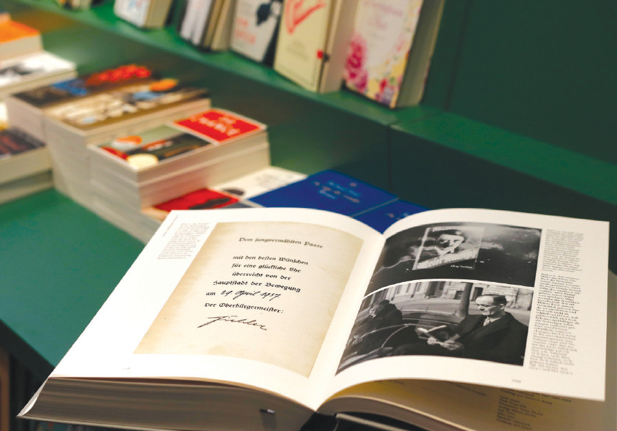 A COPY of the book 'Hitler, Mein Kampf. A Critical Edition' lies on a display table in a bookshop in