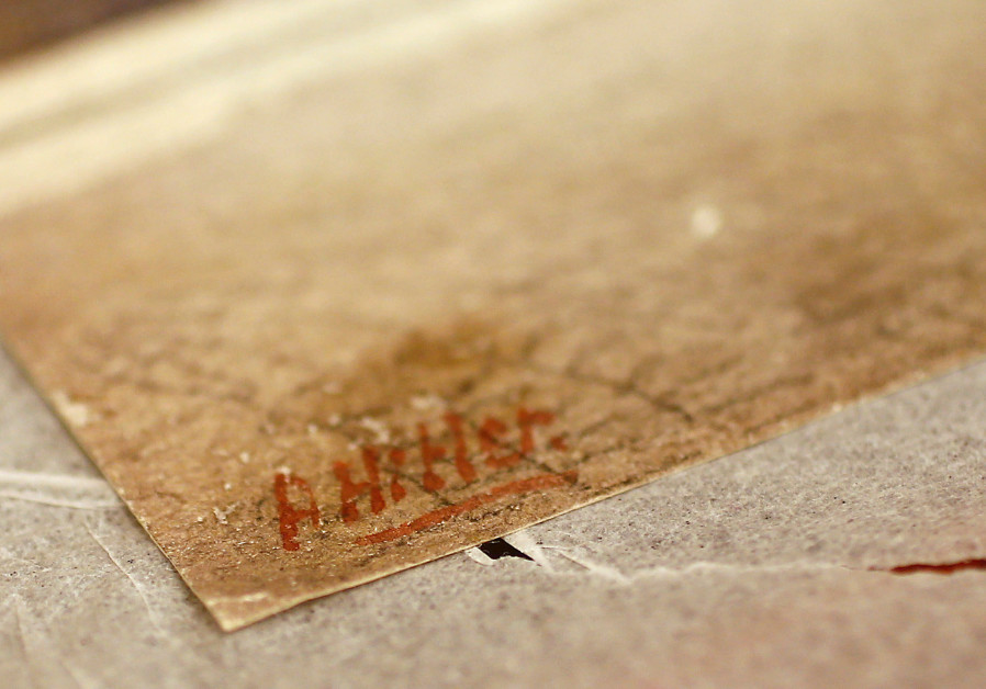 Hitler's signature on the corner of an oil painting at the Weidler auction house