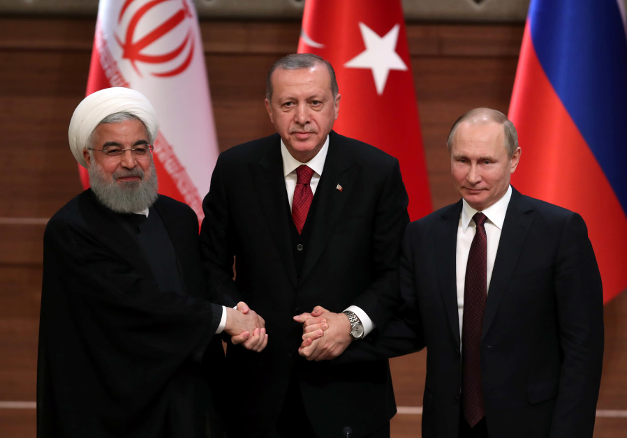 Presidents Hassan Rouhani of Iran, Tayyip Erdogan of Turkey and Vladimir Putin of Russia