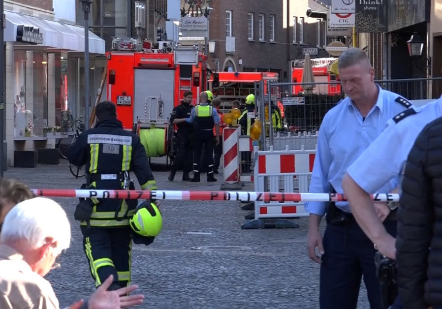 The aftermath of a car ramming in Munster, Germany