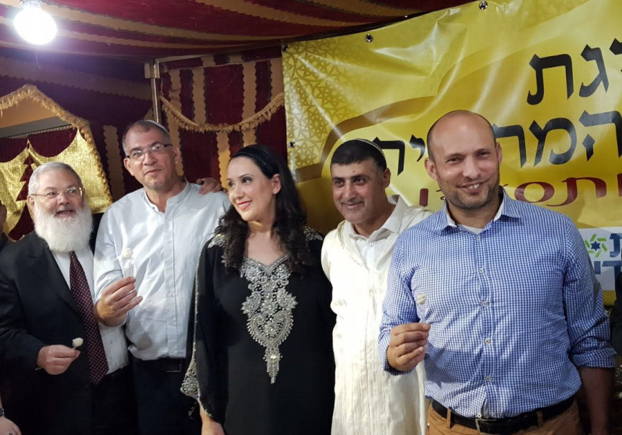 MK and Education Minister Naftali Bennett at the Mimouna hosted by the Harosh family in Lod