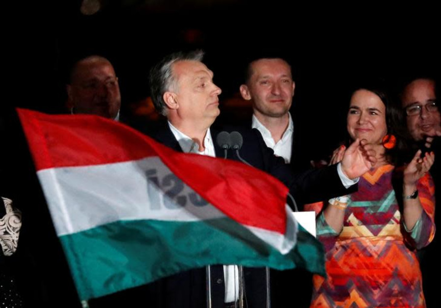 Hungarian Prime Minister Viktor Orban addresses supporters.