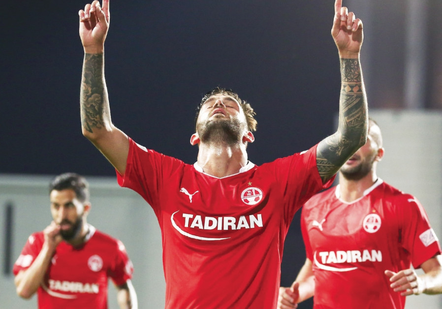 Hapoel Beersheba midfielder Hanan Maman celebrates after winning goal