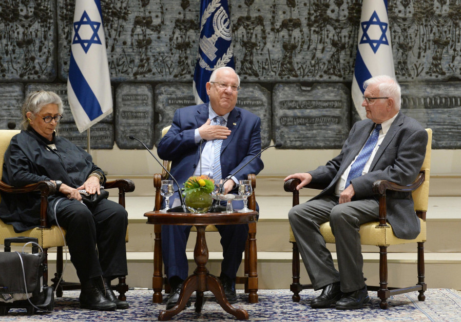 President Reuven Rivlin (C) and Nechama Rivilin (L) host a Zikaron BaSalon event on April 10, 2018.