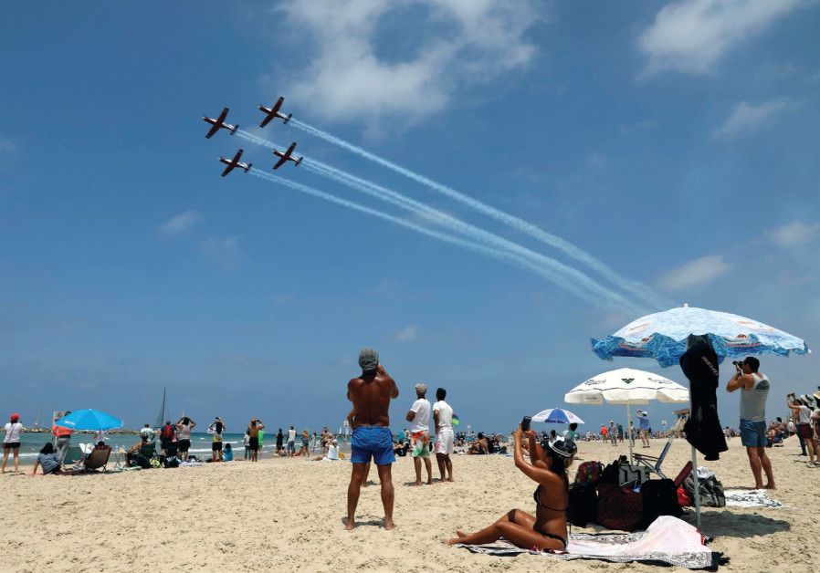 AIRPLANES FLY over Israel for Independence Day.
