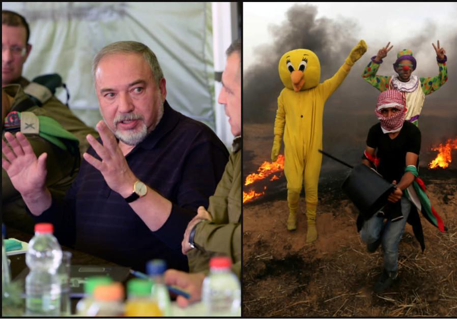 Israeli Defense Minister Avigdor Liberman (left) and Gaza protesters flashing the victory sign