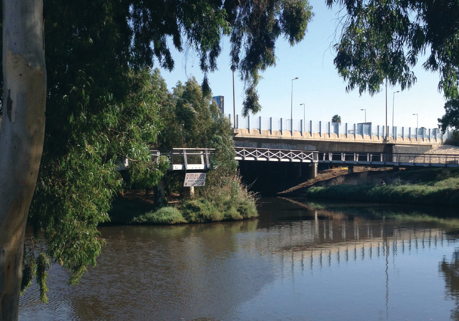 A BRIDGE over placid water at the Yarkon Park in Tel Aviv