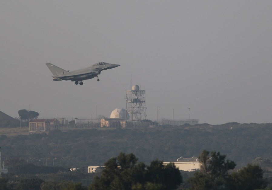 A British fighter jet takes off from an RAF base in Cyrpus to strike Syria