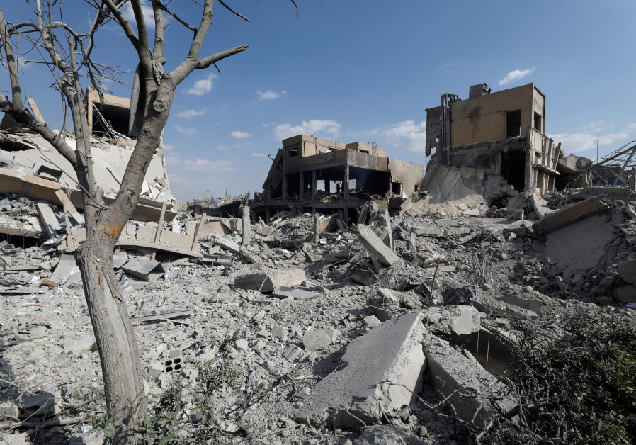 The destroyed Scientific Research Centre is seen in Damascus, Syria April 14, 2018.