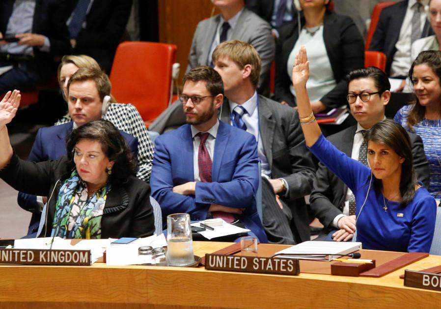 United States Ambassador to the UN Nikki Haley and Karen Pierce, UK Ambassador to the UN