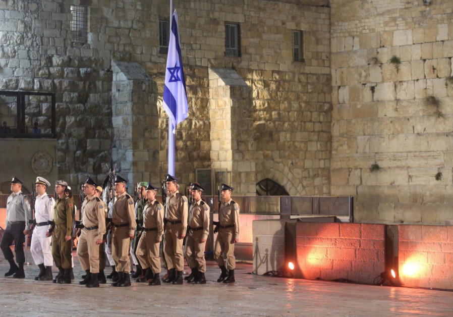 Members of the IDF prepare for a Remembrance Day ceremony at the Western Wall on April 17th 2018