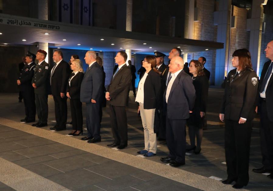 Defense Minister Avigdor Liberman, Sara Netanyahu, Prime Minister Benjamin Netanyahu.