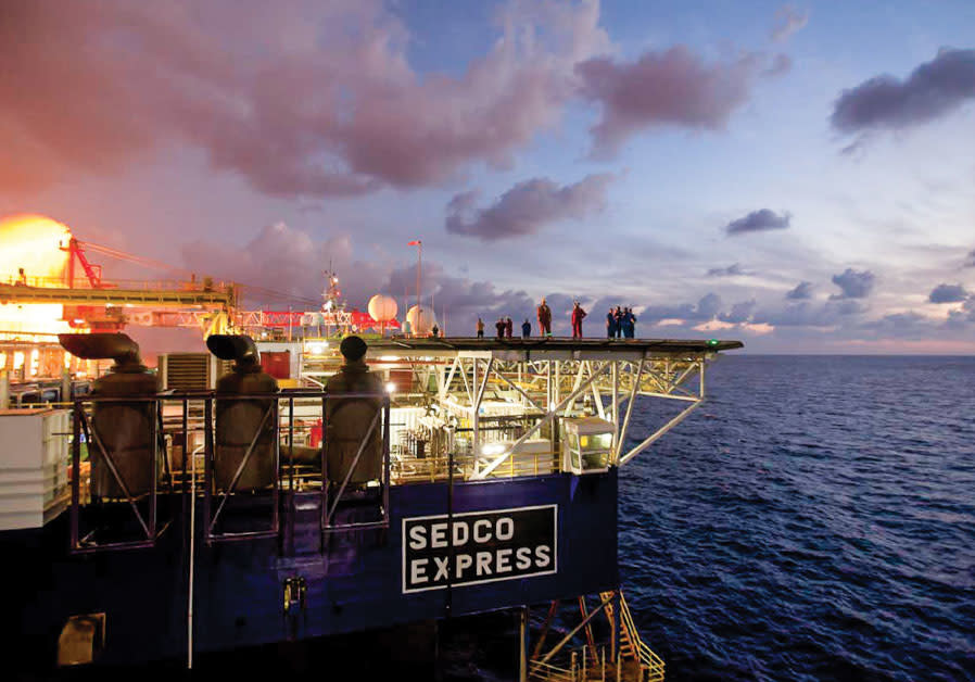 NOBLE ENERGY'S Sedco Express sits atop the Tamar field, which began supplying Israel with natural ga