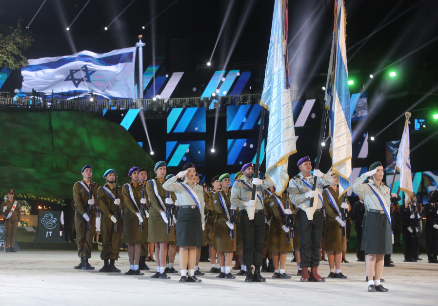 IDF soldiers march in celebration of Israel's 70th year of Independence, credit: MARC SELLEM.