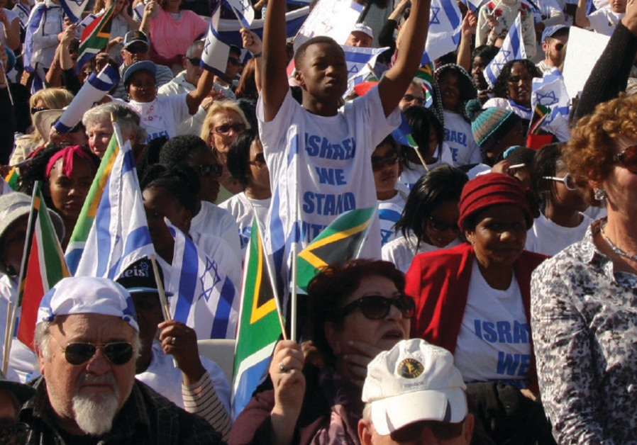 South African Jews and supporters gather in support of Israel at a demonstration in Johannesburg