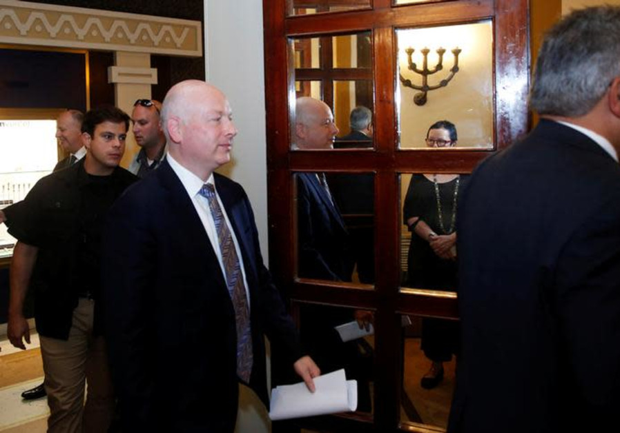 Jason Greenblatt (C), U.S. President Donald Trump's Middle East envoy, enters a meeting in Jerusalem